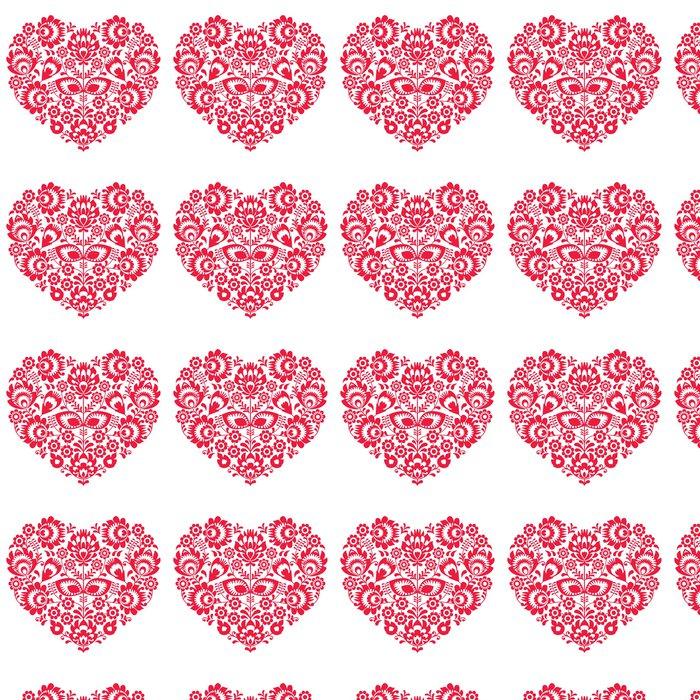Vinylová Tapeta Valentines Day lidového umění červené srdce - Polský vzor - Mezinárodní svátky