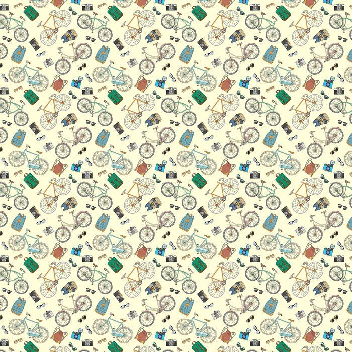 Seamless pattern with bicycles and accsessories Vinyl Wallpaper - Backgrounds
