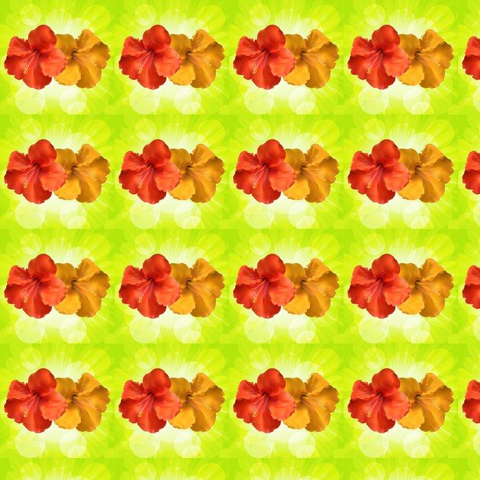 Vinylová Tapeta Květy ibišku a zářící zelené pozadí - Roční období