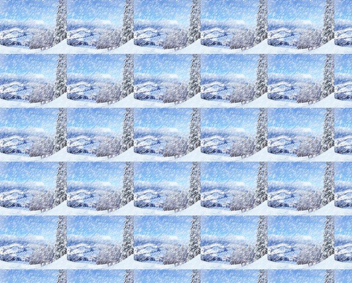 Vinylová Tapeta Krásná zimní krajina s zasněžené stromy. - Lesy