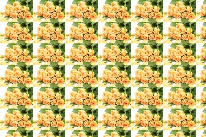 Vinylová Tapeta Krásnou kytici růží a okvětní lístky na bílém - Květiny
