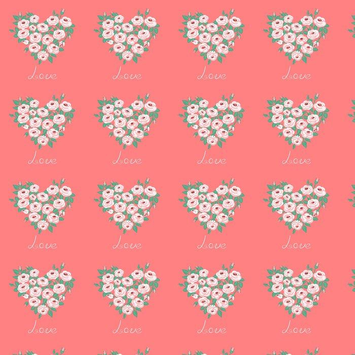 Vinylová Tapeta Roztomilý vinobraní růže uspořádány do tvaru srdce - Štěstí