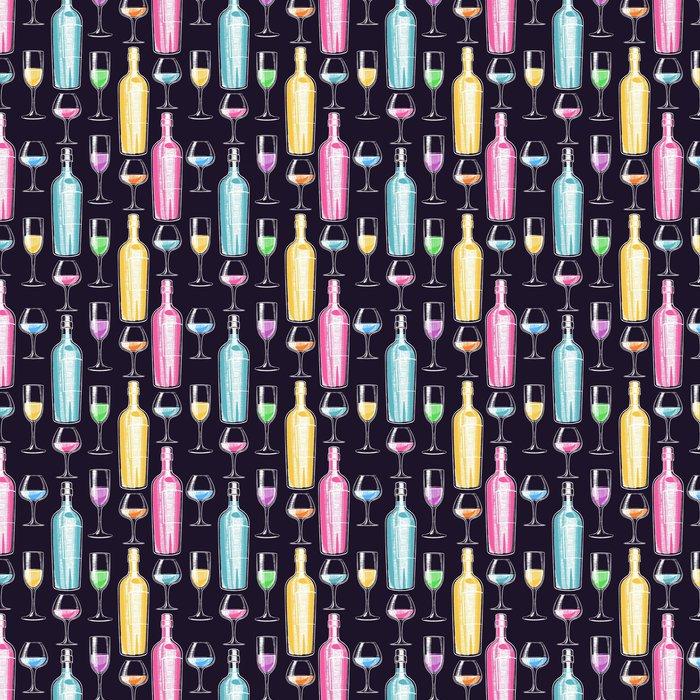 Vinylová Tapeta Bezešvé láhve na víno a brýle - Pití