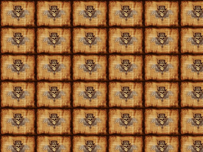 Vinylová Tapeta Steampunk Skull na pergamen - Steampunk