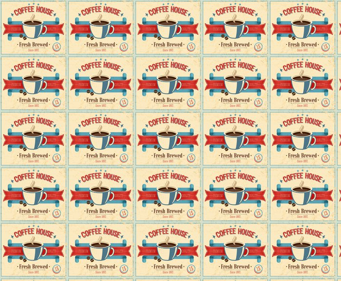 Vinylová Tapeta Vintage Coffee House kartu. Vektorové ilustrace. - Jídla