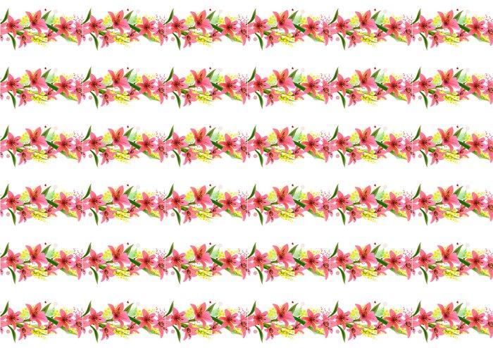 Vinylová Tapeta Horizontální bezešvé vzor vyrobeny z různých letních květin - Květiny