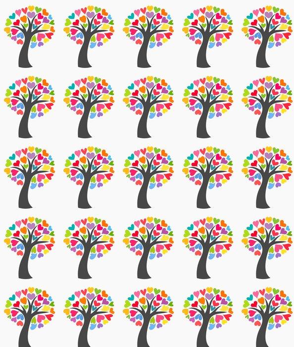 Vinylová Tapeta Strom s barevnými srdíčky - Mezinárodní svátky