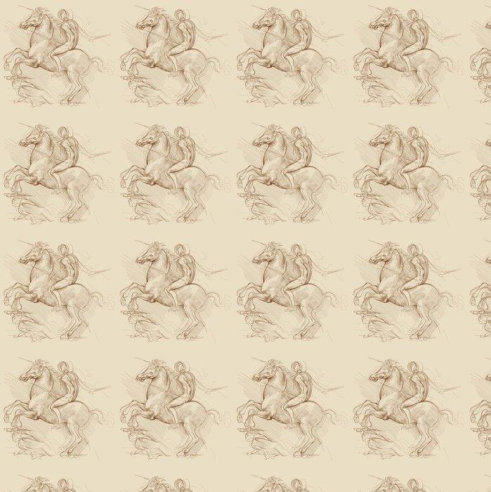 Vinylová Tapeta Kůň a jezdec. Na kreslení Leonardo da Vinci na základě - Témata