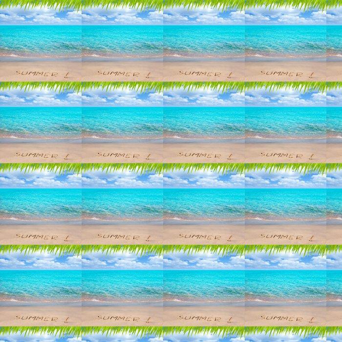 Vinylová Tapeta Tropická pláž s letní slovo napsané v písku - Prázdniny