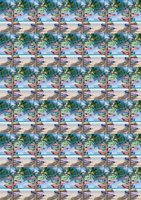 Vinylová Tapeta Příznaky ukazující vzdálenosti do hlavních zemí na tropickém Beac - Prázdniny