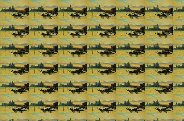 Vinylová Tapeta Gondoly na přistávací fázi v Benátkách, malba olejovými barvami, il - Umění a tvorba