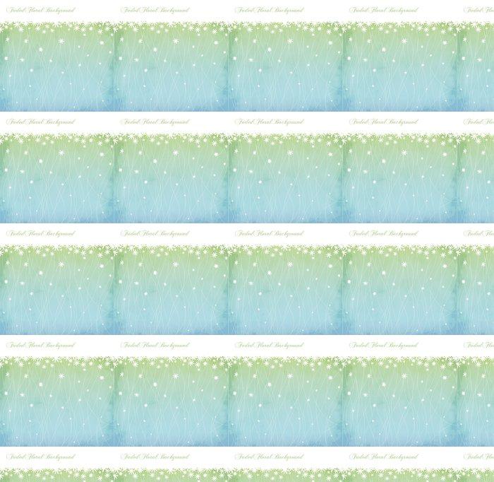 Vinylová Tapeta Vybledlé Květinové pozadí a Květinový okraj v prášku modré - Pozadí