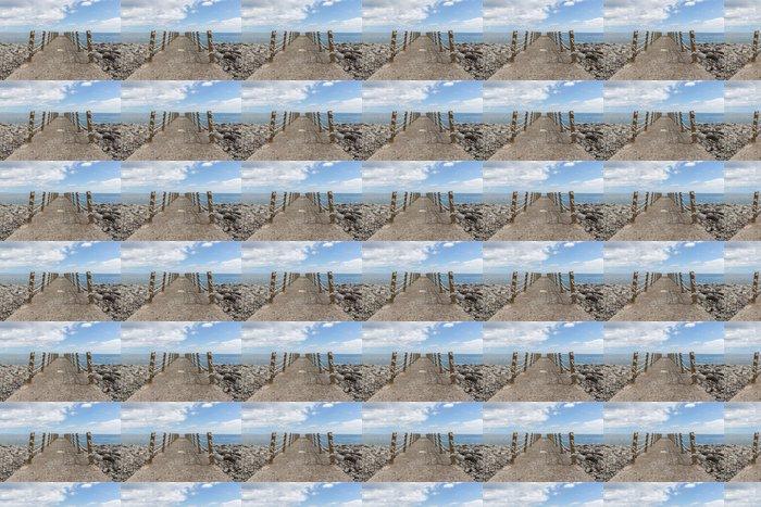 Vinylová Tapeta Betonářské molo a železo plot s lany - Prázdniny