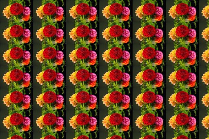 Vinylová Tapeta Jiřiny ve váze na černém pozadí - Květiny