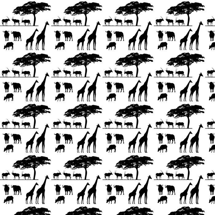Vinylová Tapeta Africká zvířata, vektorové siluety - Přírodní krásy