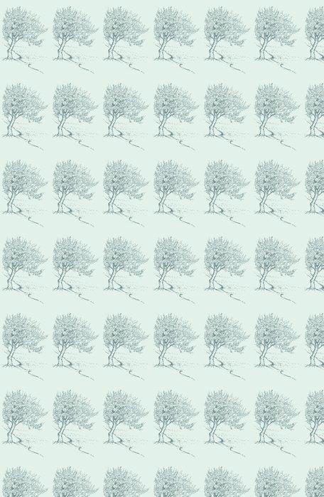Vinil Duvar Kağıdı Nehir kıyısında Vektör kroki çiçeklenme ağaç bahar - Mevsimler