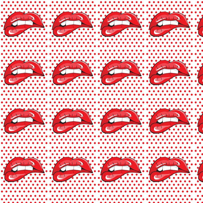 Vinylová Tapeta Kousla se do červené rty zuby pop art - Styly