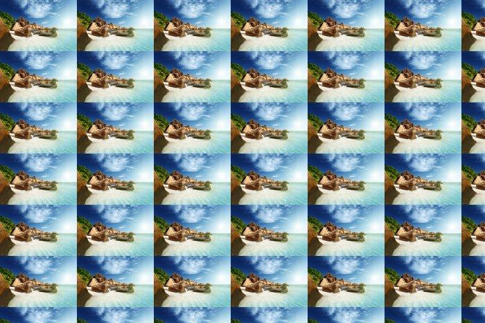 Vinylová Tapeta Západ slunce na pláži, Anse Source d'Argent, La Digue Ostrov, Seys - Voda