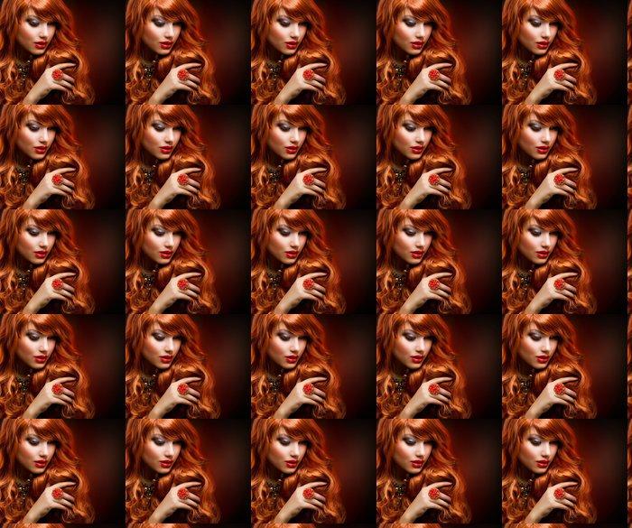 Vinylová Tapeta Zvlněný rudé vlasy. Módní dívka portrét - Témata