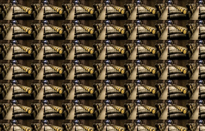 Wine barrels in cellar. Wide angle view. Vinyl Wallpaper - Alcohol