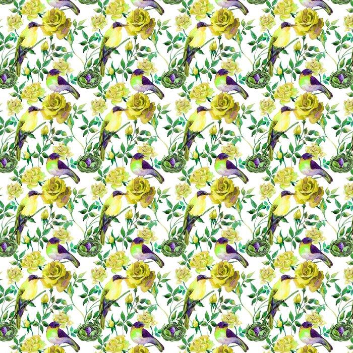 Vinil Duvar Kağıdı Sarı gül Suluboya kuşlar - Çiçek ve bitkiler