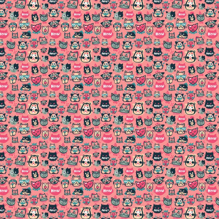 Cute Hipster Cat Faces Kitty Pet Head Avatar Emotion Icons Seamless Pattern Background Vector Illustration Vinyl