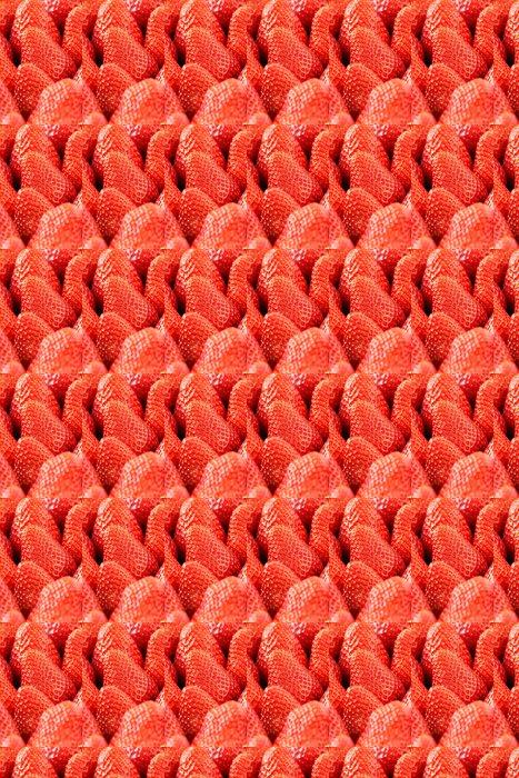 Vinylová Tapeta Čerstvé zralé červené jahody detailní - Témata