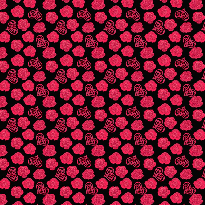 Seamless Pattern With Red Roses And Love Heart On Black Backgrou Vinyl Wallpaper