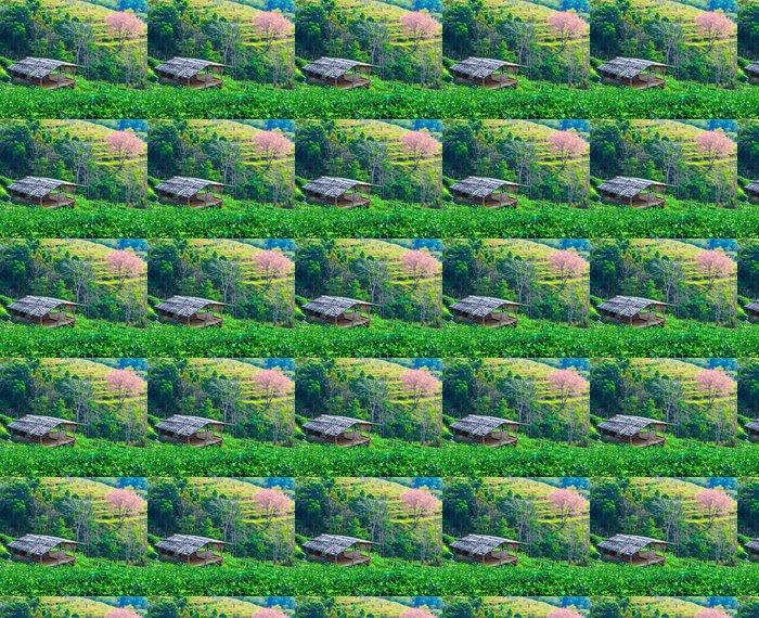 Vinylová Tapeta Třešňový květ nebo Sakura a chata - Hory