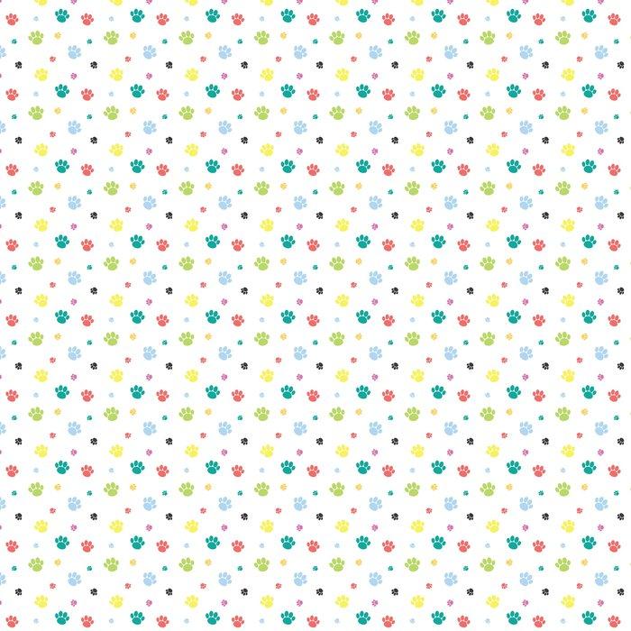 Animal Paw Print Colorful Seamless Pattern Vinyl Wallpaper