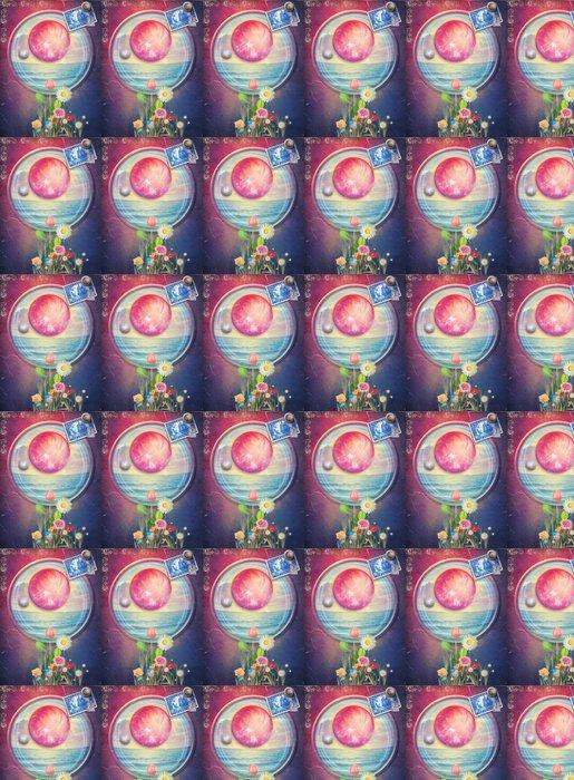 Vinylová Tapeta Západ slunce s moře a květiny do červeného pokoje - Voda