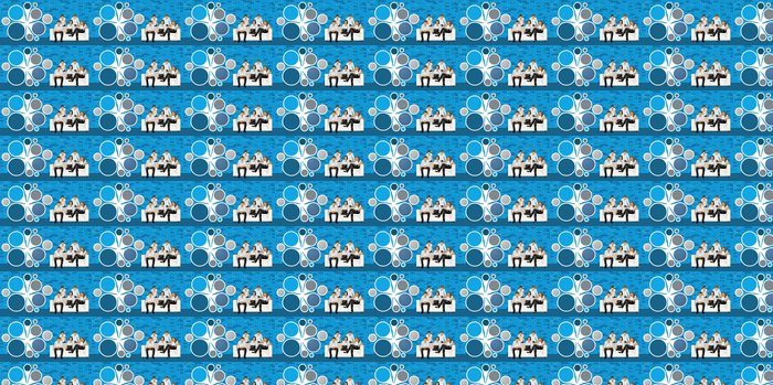 Vinylová Tapeta Obchodní lidé před modrým cihlové zdi - Skupiny a dav