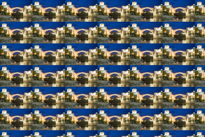 Vinylová Tapeta Starý most v Mostaru v noci - Evropa
