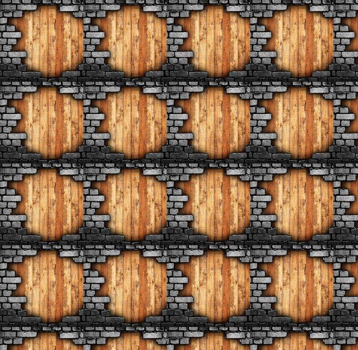 Vinylová Tapeta Rozbité stěny s dřevěným pozadím - iStaging