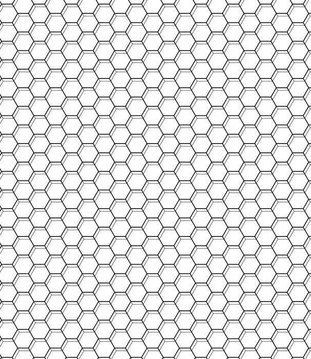 Vinylová Tapeta Bezešvé vzor s šestiúhelníky. černé a bílé geometrické pozadí. - Grafika