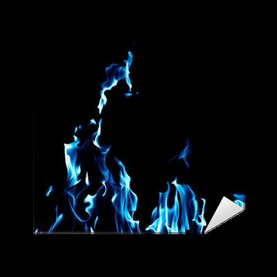 Adesivo Blu Fiamma Fuoco Su Sfondo Nero Pixers Viviamo Per Il