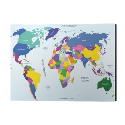 World Geographical And Political Map Aluminium Print