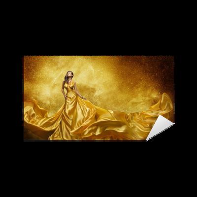 Aufkleber Gold-Model Kleid, Frau Goldene Seidenkleid Fließende Stoff ...