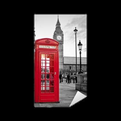 aufkleber rote telefonzelle in london mit dem big ben in schwarz und wei pixers wir leben. Black Bedroom Furniture Sets. Home Design Ideas