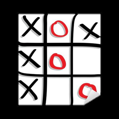 Aufkleber Spielen Das Spiel Tic Tac Toe Mit Roten Und Schwarzen Zeichen Pixers Wir Leben Um Zu Verändern