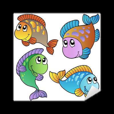 Aufkleber vier cartoon fische pixers wir leben um zu - Fliesenaufkleber fische ...