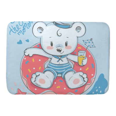 Cute Little Bear Swimming With Ring Cartoon Hand Drawn