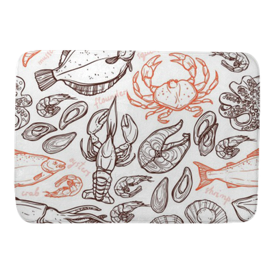 Pattern With Seafood Hand Drawn Elements With Lobster Octopus Squid Salmon Flounder Crab Mussels Oysters And Shrimps On White Background Bath Mat Pixers We Live To Change