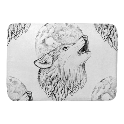 Seamless Drawing Of A Wolf Howling At The Moon On A White Background Bath Mat Pixers We Live To Change