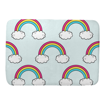 Vector Seamless Pattern With Cute Rainbow And Clouds Bath Mat Pixers We Live To Change