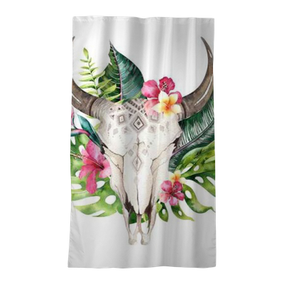 Watercolor Bohemian Cow Skull And Tropic Palm Leaves
