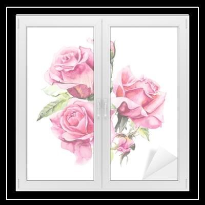 Gül çalısı Pembe Gül Deseni Düğün çizimleri Suluboya Boyama Tebrik Kartı Gül Arka Plan Suluboya Kompozisyon çiçek Zemin Cam Ve Pencere