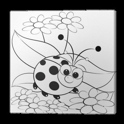 Canvas Kleurplaat Lieveheersbeestje En Daisy Pixers We Leven