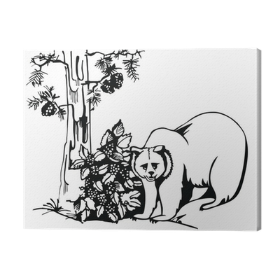Artistic Sketch Bear In The Forest With Pine Canvas Print Pixers We Live To Change