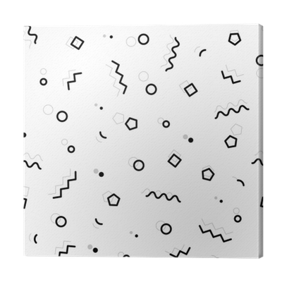 Black and white geometric memphis pattern with zig-zag lines, triangles,  squares, waves,hexagones and circles  80s and 90s graphic design style